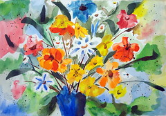 This is the very first watercolor made by Elvira (Dona Mincia) Tags: flower art watercolor painting paper flor collection study quick aquarela rpido coleo