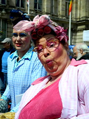 Bertha and Betty ???? (Manoo Mistry) Tags: unionjack uk town midlands jubilee england costumes colour birmingham people celebrations westmidlands central birminghampostmail birminghampostandmail