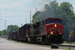 Typical GEs (Wide Cab) Tags: cn train ge freight generalelectric canadiannational manifest dash9 c449w oshkoshwi a447 neenahsub