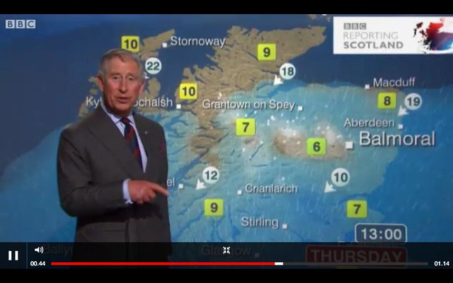 Prince Charles does the weather forecast with emphasis on Balmoral