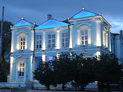 Blue Lights at the  building... (Alexanyan) Tags: city blue light building center bulgaria balkans bulgarian varna