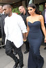 Kanye West and Kim Kardashian leaving their hotel London, England