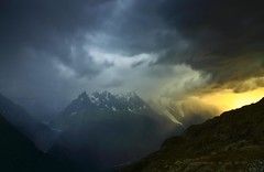 Alpine Storm over Mont Blanc (Explored) (Steve Thompson images) Tags: storm france mountains alps night glacier chamonix montblanc frenchalps aiguilles ndgradfilter canon450d canon1585 lacdechesery