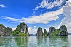 Halong Bay (badzmanaois) Tags: sky cliff mountain seascape nature rock landscape bay boat junk asia vietnamese ship scenic rocky unescoworldheritagesite vietnam limestone raft karst barge tranquil halong indochina geological traveldestination geologicalformation