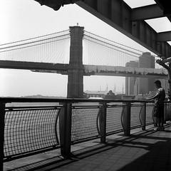 (Barry Yanowitz) Tags: nyc newyorkcity bridge blackandwhite bw ny newyork 6x6 film mediumformat blackwhite highway downtown kodak manhattan trix bridges 120film d76 rivers brooklynbridge eastriver scanned filmcamera fdrdrive nycity selfdeveloped kodaktrix400 rolleicordv selfdeveloping d76developer