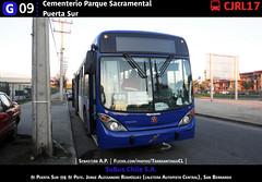 G09 | Cementerio Parque Sacramental - Puerta Sur (Mr. Mobitec) Tags: chile santiago azul volvo publictransport marcopolo santiagodechile sanbernardo transantiago transportepúblico g09 volvob7rle b7rle granviale subus zonag troncal2 subuschile