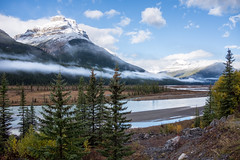Icefields Parkway (flippers) Tags: trees cloud mountain lake snow canada tree fog clouds haze snowcapped alberta valley snowcap lowlying waterfowllakes