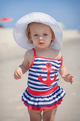 Cape May day, baby! (artseejodee) Tags: blue red summer baby white beach hat kids canon newjersey spring sand babies cloudy cove nj anchor capemay jerseyshore southjersey southernnewjersey capemaycounty umbrellasoftcolors
