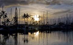 Quicksilver (jcc55883) Tags: hawaii oahu honolulu alawaiyachtharbor waikiki alamoanaarea sunset sky clouds silhouette reflections nikon nikond3200 d3200