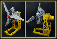 Rotary ona Stand (Karf Oohlu) Tags: stand lego aircraft engine moc rotaryengine engineengine