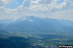 View on Salzburg (CO's Photography) Tags: city blue sky panorama sun mountains salzburg green beautiful weather clouds austria high view sight gaisberg untersberg