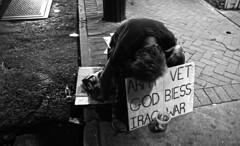War is Hell (tacosnachosburritos) Tags: bourbonstreet street photography humanity human race man guy drunk homeless vet crescent city urban neworleans bigeasy decadence army iraq war tragedy