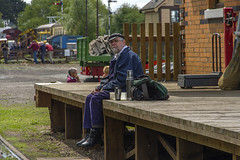 Contemplation (Kev Gregory (General)) Tags: railroad portrait dinner wonder lunch weekend candid great traction central working engine railway stranger steam driver locomotive capture gregory kev gala contemplation gcr