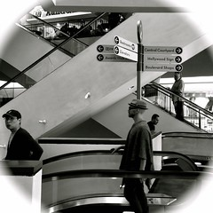 Everyone is going somewhere (alexandrabilham) Tags: street stairs shopping losangeles diagonal socal hollywood shoppingmall