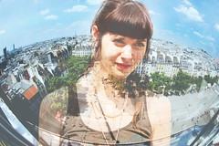 A Girl Called Paris (kirstiecat) Tags: city woman paris france beautiful architecture female clouds amazing europe cityscape sensitive surreal multipleexposure wise dreamy caring moment cinematic intelligent fisheyelens airiel