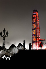 London Eye (erikapaige91) Tags: street uk travel light red england people motion london night digital canon dark shadows dream surreal londoneye sillouette