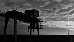 Railhead Loading Crane Torness Sidings (Gilli8888) Tags: sunrise torness dunbar scotland coast coastline sun sea seaside clouds blackandwhite monochrome crane industrial tornesssidings