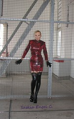 dress rehearsal for Tortureship Pic 1 (SaskiaEngel) Tags: highheels tgirl transgender tranny transvestite heels nylons halsband holdup transe wetlook kleid korsett transvestit tgirls holdupstockings