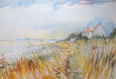 Estuary, near Carlisle (skyeshell) Tags: summer seascape water coast cottage estuary grasses breeze pleinair summersky watersolublecrayons