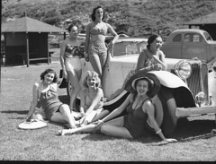 """The Women"" Co. girls on Tamarama beach, 2 February 1939 / photographer Sam Hood (State Library of New South Wales collection) Tags: ford car play singer actress swimsuit 1939 sportscar tamarama thewomen junemallett"