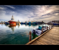 (B.M.K. Photography) Tags: ocean sky boats jetty perth fremantle westernaustralia hdr fremantlefishingboatharbour
