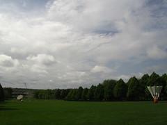 April 15, 2012 (the brilliant magpie) Tags: city trees sky sculpture green art museum clouds garden nelson kansas atkins shuttlecock