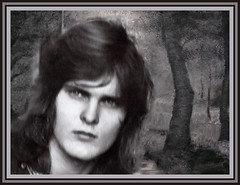 Hippie Young Man (jta1950) Tags: portrait people bw painterly man forest person background longhair frame hippie youngadult youngman homme