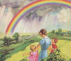 Look up at the sky for your surprise (katinthecupboard) Tags: art rainbow reader vintagechildrensbooks childrens vintage miriamstoryhurford illustrations vintagechildrensprimer vintagechildrenstextbooks vintagechildrensreaders vintagechildrensartbooks hurfordmiriamstory