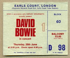 David Bowie at Earls Court ticket, June 1978 (Paul-M-Wright) Tags: uk england david london court bowie concert europe centre gig ticket exhibition harvey 70s 1978 1970s seventies earlscourt earls ziggy stardust davidbowie starman goldsmith ticketstub concertticket 29june