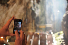 Best camera is the one with you (Huey Yoong) Tags: city urban nature stairs religious temple asia southeastasia dof bokeh capital steps naturallight holy cave kualalumpur hindu batucaves selangor iphone naturalformation hbw sooc nikond300 happybokehwednesday