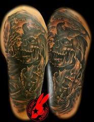 Horned Reaper Tattoo by Jackie Rabbit (Jackie rabbit Tattoos) Tags: city black up tattoo dark virginia scary reaper creepy cover roanoke va horror jackierabbitstar