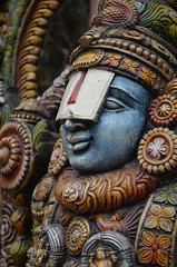 One of the many portraits of the Lord (priyam.n) Tags: sculpture dark god delhi culture lord krishna hindu dillihaat