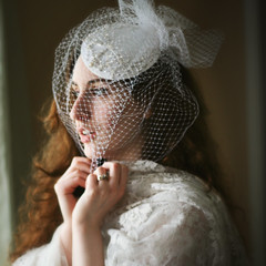 Day One Hundred and Ninety-Nine (XeniaJoy) Tags: wedding portrait selfportrait self square bride veil lace anniversary marriage engagementring ring 365 pillboxhat 365days cageveil birdcageveil
