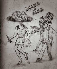 meals in heels (heathermariecarr) Tags: woman sketch running brains zombies 2012 heathercarr xe3ep heatherunderground