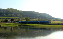 Across The Pond - Part 2 (Jim the Joker) Tags: lake train pond railway stokesay dmu cravenarms arrivatrainswales class175 themarchesline