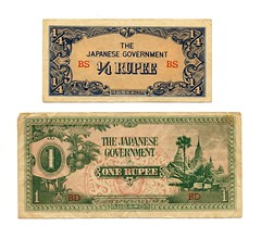 Invasion money - 1/4 and 1 Rupee - Burma  WW2 1940s (Aussie~mobs) Tags: money vintage war burma 1940s ww2 secondworldwar rupee curency japanesearmy bananamoney invasionmoney
