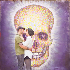 (333Bracket) Tags: streetart london love 120 6x6 film mediumformat skull anniversary fujixtra400 333bracket bronicasqbzenzanonps80mmf28