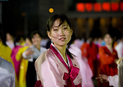 DANSEUSES AU BAL DU 15 AVRIL A PYONGYANG, COREE DU NORD (Eric Lafforgue Photography) Tags: voyage travel portrait woman color colour cute sexy girl smile face festival horizontal dance asia dancers dress robe feminine femme nighttime hanbok asie jolie custom soir 2008 fille sourire couleur northkorea visage bal ideology axisofevil pyongyang spectacle eastasia feminin dprk danseurs traditionalclothing juche lookingatcamera coleur northkorean seduisante dictature democraticpeoplesrepublicofkorea northkoreans koreanpeninsula juchesocialistrepublic coreedunord rdpc koreanethnicity insidenorthkorea joseonot