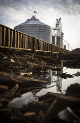 Rail Ties (Notley) Tags: wood railroad sky reflection water rural train ties puddle spring midwest dof farm tracks rail silo depthoffield reflect april elevators gravel timbers cloudysky bucolic lateafternoon railroadtracks traincars railroadties slater grainelevators railroadcars 2014 salinecounty ruralphotography gravelpile slatermissouri missouriphotography httpwwwnotleyhawkinscom notleyhawkinsphotography salinecountymissouri