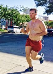 IMG_9051 (danimaniacs) Tags: street shirtless man hot sexy guy beard hunk run runner westhollywood jog stud jogger scruff redshorts mansolo