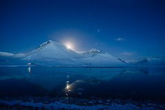 nundarfjrur (dataichi) Tags: longexposure travel blue winter moon snow mountains cold reflection tourism nature night landscape outdoors iceland north symmetry hour destination moonlight fjord symetry wilderness scandinavia westfjords