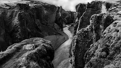 in a land before our time ... (lunaryuna) Tags: bw landscape blackwhite iceland canyon rockface gorge lunaryuna strangeness archaic monocrhome southiceland geologicalformation wildbeauty rivercanyon fjadrargljufur kirkjujabaerklaustur