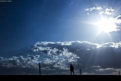 (Georgina ) Tags: man silhouette walking alone athens greece sunburst bluehour sunrays