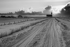 Iceland Snowscape (Foto Blitz Color) Tags: road travel winter blackandwhite bw snow church clouds fence blackwhite iceland nikon december tracks d700