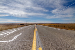 Blacktop and blue sky (Blue Trail Photography) Tags: road blue sky cloud mountain canada west field grass rockies highway fort south rocky trail alberta prairie chinook asphalt grassland lethbridge blacktop macleod