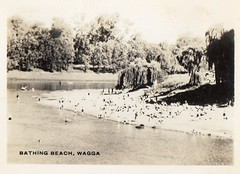 Bathing Beach Wagga (Daddys 'lil Girl) Tags: postcard australia nsw historical 1949 wagga albury riverina
