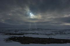 the eye in the sky (lunaryuna) Tags: winter light sky mountain snow ice clouds landscape iceland spring highlands ominous lunaryuna strangeness nightfall myvatnarea seasonalchange lightmood centralnorthiceland