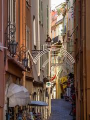 """Rue Narrow"" (Johnners61) Tags: street old city pen four town alley riviera olympus montecarlo monaco historic micro lantern quaint rue olympuspen narrow thirds principality m43 mft principaut principautdemonaco epl1 microfourthirds"