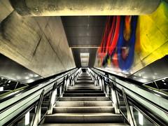 untitled (wolcottsworld) Tags: streetart architecture underground deutschland graffiti flickr escalator streetphotography cologne kln olympus scene snap pro moment omd m43 mft strassenfotografie flickriver dramatictone omdem1