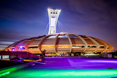 """The Big O"" (s.W.s.) Tags: city longexposure urban canada colour green tower sport night nikon purple quebec montreal olympics olympicstadium hdr bigo d3300"